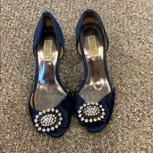 Worn Badgley Mischka blue shoes